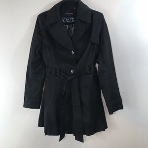 Via Spiga Black Trench Coat - Size Medium
